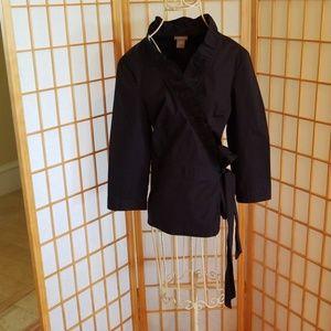 Ann Taylor Black Kimono Wrap Around Bow Jacket